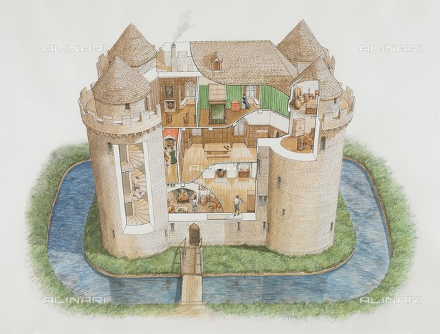 Nunney Castle, Somerset, 2006. Aerial view cutaway reconstruction drawing showing the great tower as it might have appeared in the 1580s