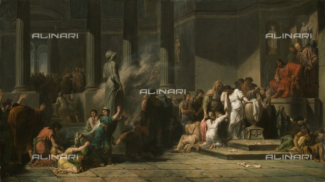 Athenian Girls Drawing Lots to Determine Which Seven Among Them Shall be Sent to Crete for Sacrifice to the Minotaur', 18th century. Painting in Apsley House, London
