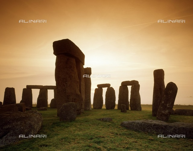 Early morning view of the stones, Stonehenge, Wiltshire