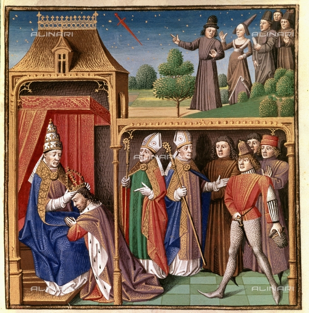 "Charles II the Bald is crowned Emperor of the West (875-877) and vision of a sword in the cycle. Miniature of ""Miroir Historial"" (Speculum Historiale), 15th century manuscript, Vincent de Beauvais  (1190-1264), Chantilly, Musée Condé"