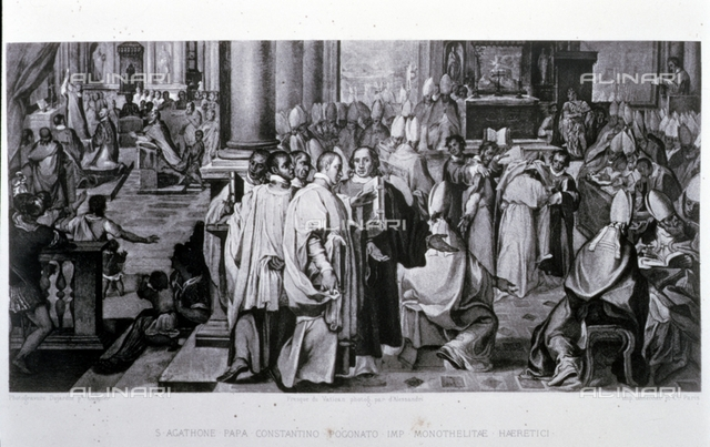 Third Council of Constantinople, held between 680-681d.C under Pope Agathon and the reign of Constantine Pogonat, engraving on a fresco of the Vatican, engraver: Dujardin, printing: Lemercier, Paris, 1868, Alessandri, Private collection