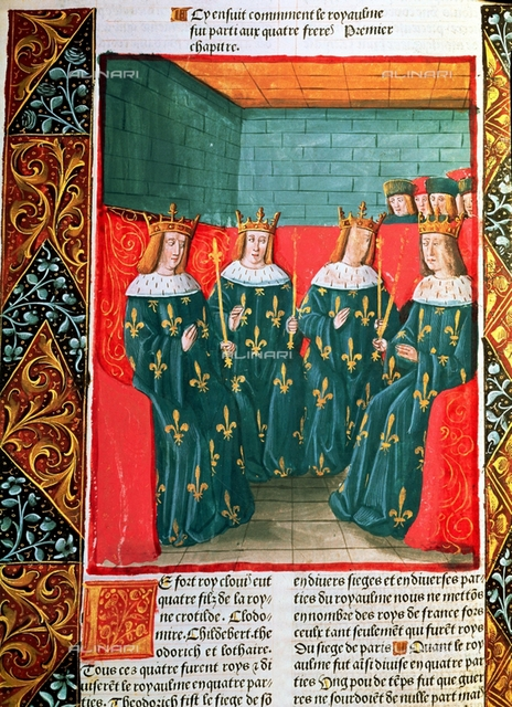 """Distribution of the kingdom of the Franks among the four sons of King Clovis I (465-511): Clodomiro, Chidelberto, Theodoric and Lothario, miniature in the incunable """"Chronicles of France"""", printed by A. Verard, Paris, 1492, Verard, Antoine (1450-1519), Turin, National Library"""