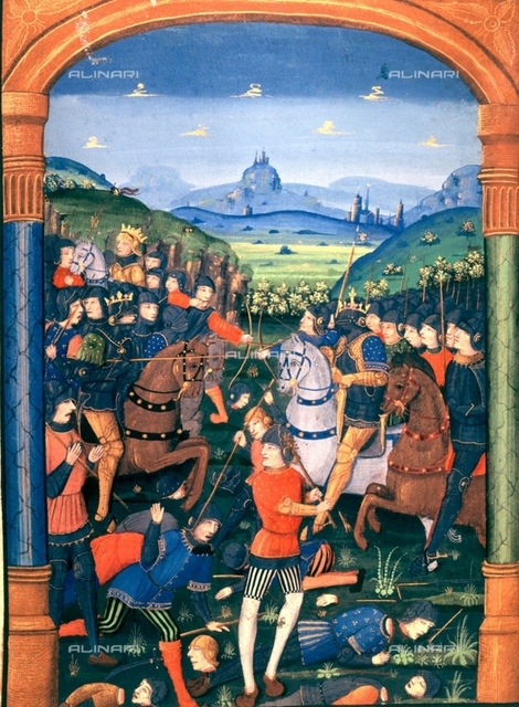 """Charles Martel commanding the army in the Battle of Vincy (1714), Rangefredo troops are defeated and Austrasia is returned to Merovingian hegemony, miniature of the incunable in """"Chroniques de France"""" printed by Antoine Verard, Paris, 1492, Turin, National Library"""