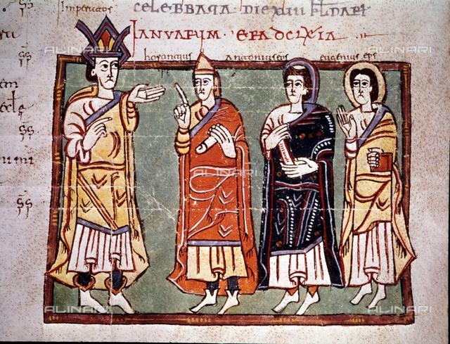 "Council held in 622, miniature in the ""Codex Albeldense"" (Codex Conciliorum Albeldensis seu Vigilanus), that was last written and illuminated in 976 for the monastery of San Martín de Albelda (Rioja), Vigila (Benedictine monk), El Escorial, Library of the Monastery of El Escorial"