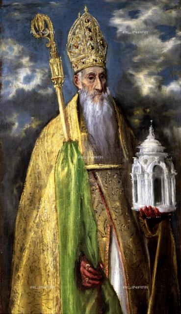 St. Augustine (354-430), oil painting by El Greco, Doménikos Theotokópoulos El Greco (1541-1614), Toledo, Museo de Santa Cruz