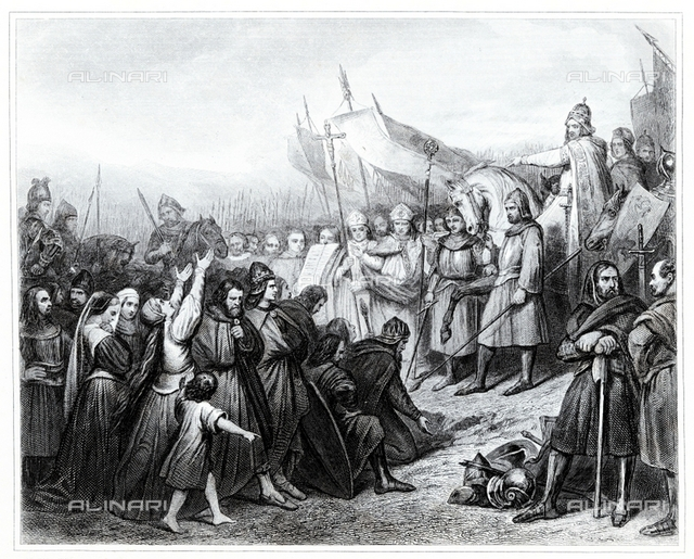 Charlemagne receive the submission of Wittekind in the year 785. Engraving from 1853, Private collection