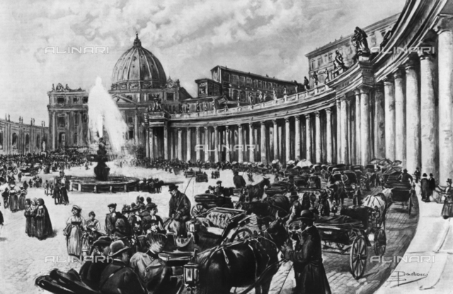 St. Peter's Square during the days of the Pope's blessing, drawing, Dante Paolocci (1856-1926)