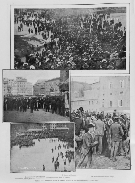 """Rome- The turmoil of the general strike: The barrage of Deputies, The Return of the Comitia, The people applauded the troops, The Carabinieri on horseback evacuate Square Column, illustration taken from the magazine """"L'Illustration Italian"""" of 20 may 1906, page 492"""