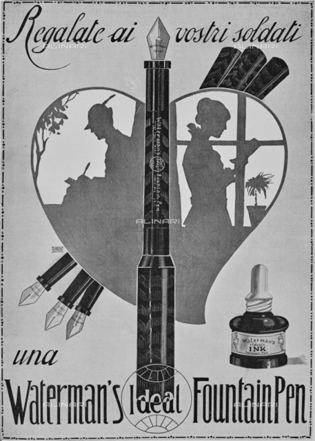 "Advertising of a fountain pen with the inscription ""Give your soldiers a Waterman's Ideal Fountain Pen"" and the image of an alpine writing a letter and the girlfriend who receives it during the First World War. Picture taken from the magazine ""L 'Illustration Italian"" of December 5, 1915, n. 49, page 481"