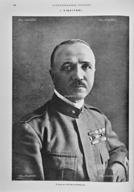 "Portrait of General Pietro Badoglio (1871-1956). Photography taken from the magazine ""The Italian Illustration"" of November 10, 1918, no. 45, page 398"