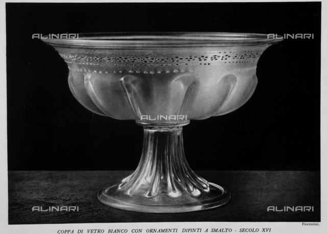 "The Museum of glass in Murano: White Glass cup with enamel painted ornaments, photography by Fiorentini taken from the magazine ""L'Illustration Italian"" of 11 december 1932, page 864"