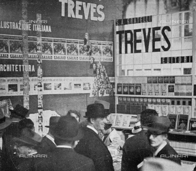 "Milan Book Festival: stand of the Foto Editions Treves, photography taken from the magazine ""L'Illustration Italian"" of 26 may 1935, page 882"