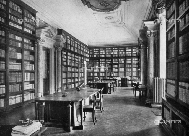 "One of the halls of the library of the Academy of the Lincei in Rome at the Palazzo Corsini, photography taken from the magazine ""L'Illustration Italian"" of 1 october 1939, page 517"