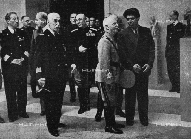 """The Italy King Vittorio Emanuele III (1869-1947) at the inauguration of the IV° Quadrennial Painting Exhibition of Rome, photography taken from the magazine """"L'Illustrazione Italiana"""" of 23 may 1943, page 449"""