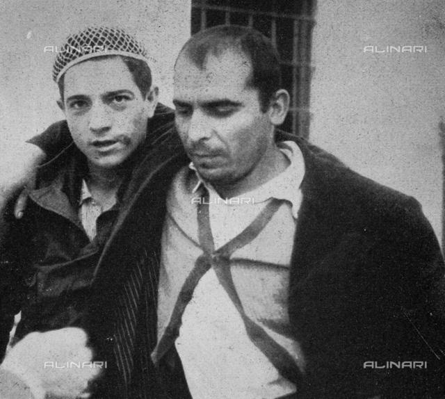 "The outlaw Nicolò Riano sentenced to 24 years in prison for having participated in the Villagrande Strisaili massacre (Nuoro), photography taken from the magazine ""L'Illustrazione Italiana"" of 4 december 1949, page 671"