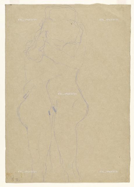 Naked embraced lovers, pencil on paper, Gustav Klimt (1862-1918), Wien Museum, Vienna