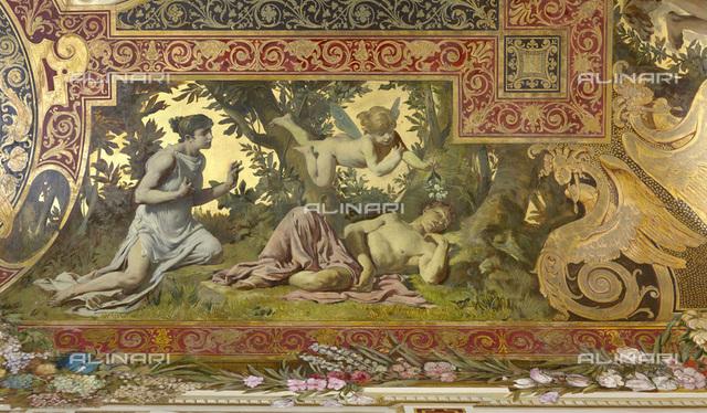 Dream (Puck mistakes Lysander and Demetrius), ceiling fresco, oil on plaster, Gustav Klimt (1862-1918) -Franz Matsch (1861-1942) -Ernst Klimt (1864-1892), Hermes, Feldmuehlgasse, Vienna