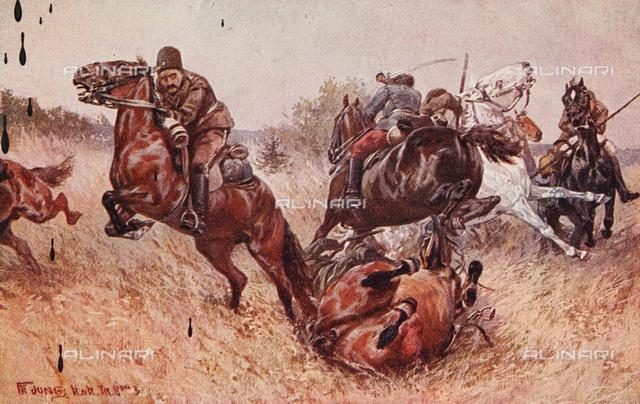 "First World War, picture postcard, propaganda, ""Reserve officer Josef Kalina is battling the Cossacks"" Official Postcard for, Red Cross/war welfare office/war aid office, No.  623, colour lithograph"