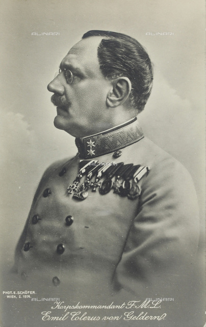 Portrait of corps commander (General of Infantry) Emil Colerus von Geldern, by E. Schöfer, Vienna 914, Published by Brothers Kohn, Vienna