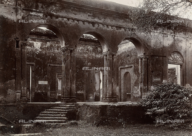 The ruins of the British Residency and Doctor Fayer's house in Lucknow, India