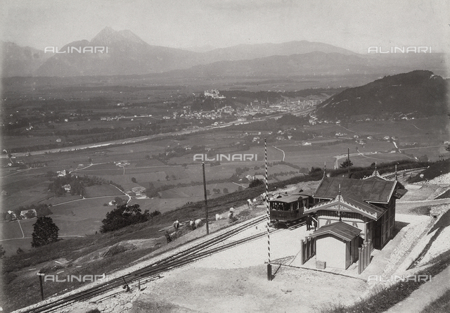 View of Salzburg from Gaisberg rail station.