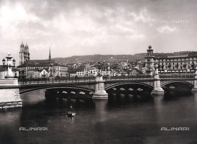 View of the city of Zurich with the bridge