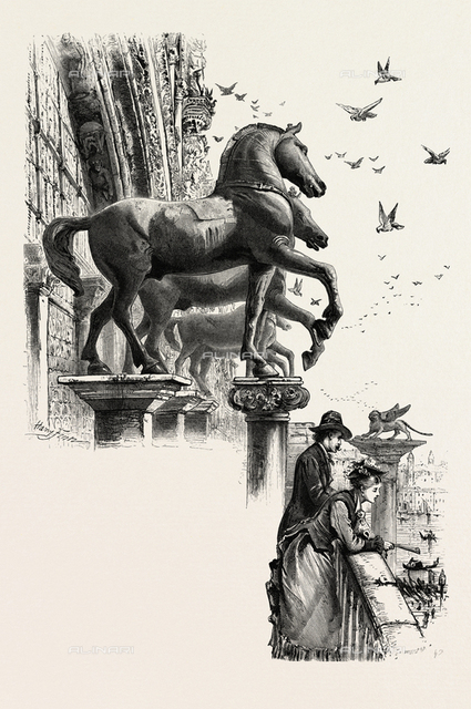 Horses of St. Mark, San Marco, Venice, Italy, 19th Century Engraving