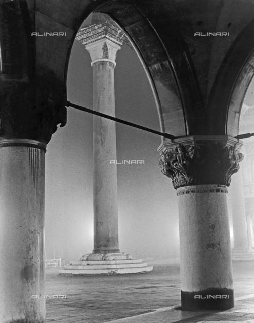 """Columns on the pier"" View of Venice with fog"