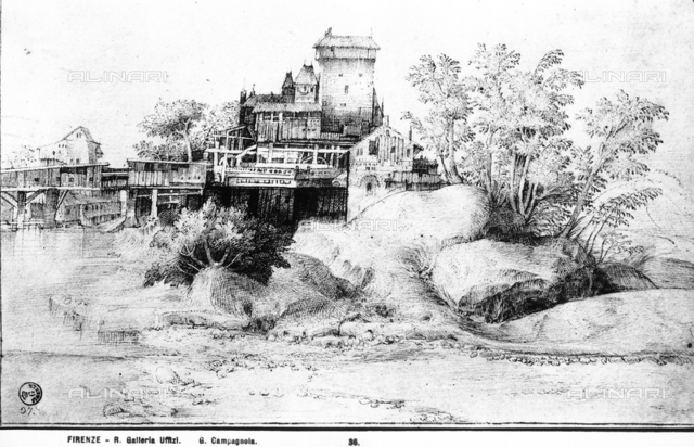 River landscape with river houses and tower. Drawing by Giulio Campagnola preserved in the Uffizi.