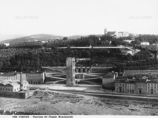 Panorama of Piazzale Michelangelo. The port of San Niccolò, Piazzale Michelangelo, the Church of San Salvatore and the Basilica of San Miniato are visible. On the left the water factory