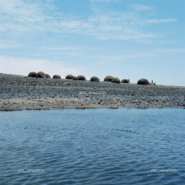 Huts built from palm leaves and covered in algae from the lake, Island of Lake Turkana (previously called Lake Rudolf)