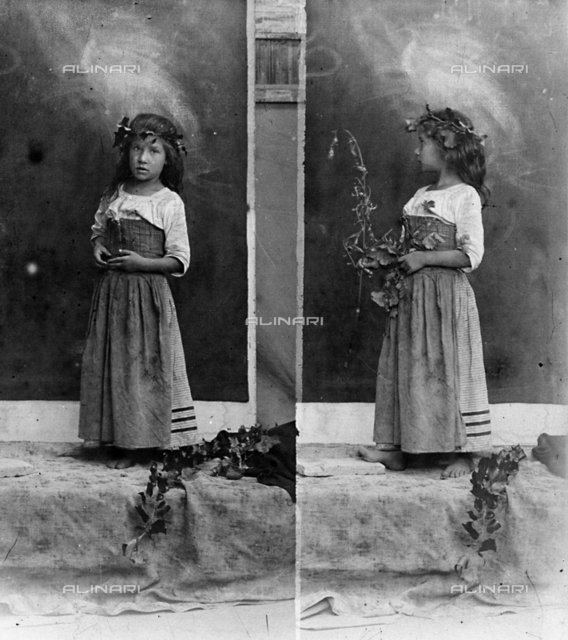 Double portrait of a young girl in the studio