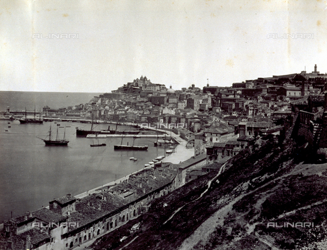 Panorama of the city of Ancona with part of the harbor