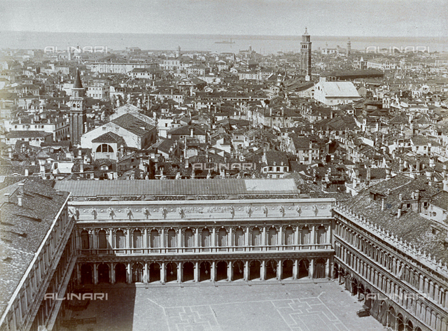 Panorama of the city of Venice from the bell tower of San Marco. In the foreground view of Piazza San Marco with Palazzo Correr