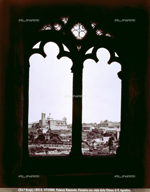 View of Viterbo from a window of the Palazzo Vescovile: the church of the Santissima Trinità can be easily recognized