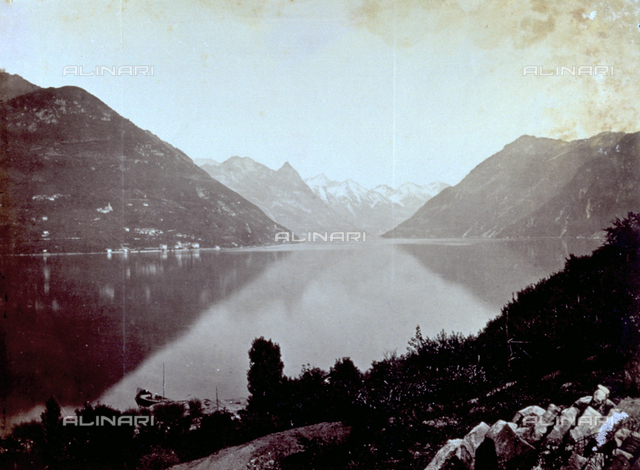 The lake of Lugano and the mountains that surround it: in the background the town of Porlezza