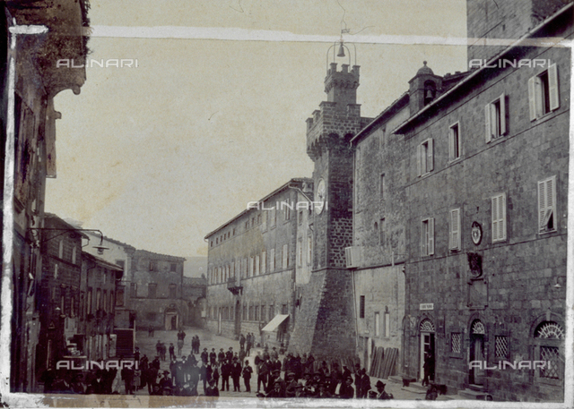 View from above of Piazza Garibaldi, with the Clock Tower, in Santa Fiora, in the province of Grosseto