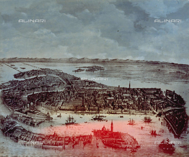 Etching depicting a bird's-eye view of Venice by night. The Grand Canal, the Canal of the Giudecca, the Canal of San Marco, the Island of San Giorgio Maggiore and the Giudecca Island can be identifed. A few boats are crossing the Canals. In the background land can be seen
