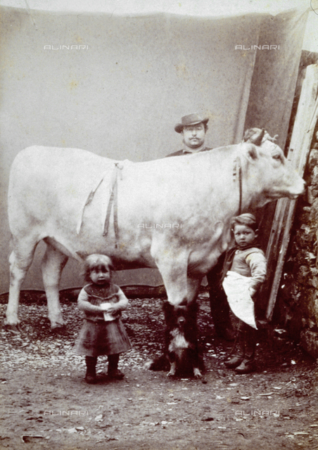Man, children and dog shown, full-length, around an ox