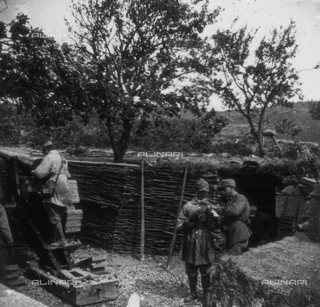 World War I: a group of soldiers in the trenches