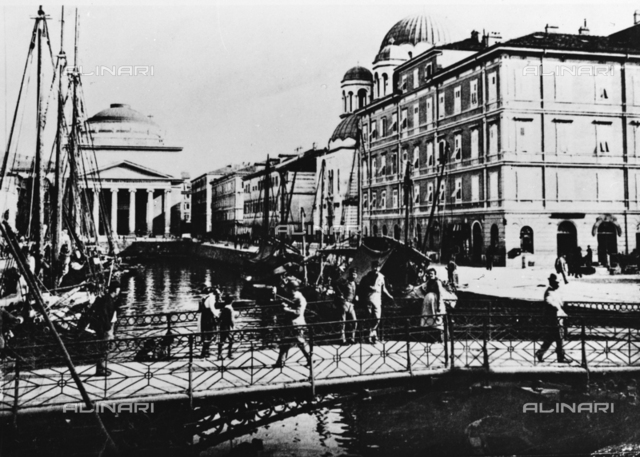 View of Red Bridge on the Grand Canal in Trieste. In the background the Church of Sant'Antonio Nuovo (the church of St. Anthony Healer)