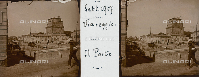 Lively view of the Viareggio port, stereoscopic photography