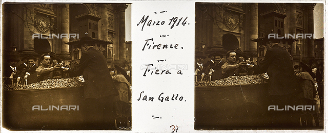 """Fiera a San Gallo"", the market at Liberty Square (Piazza di Porta San Gallo), Florence; stereoscopic image"
