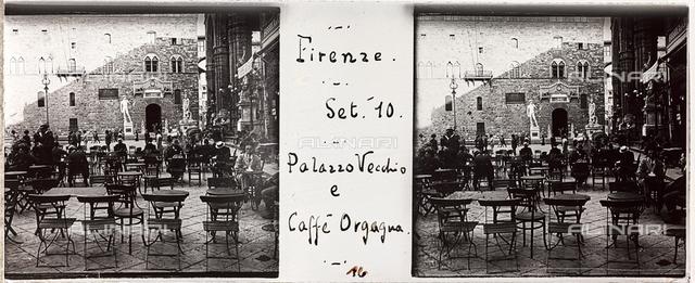 Piazza della Signoria with the Café Orcagna, Florence; stereoscopic image