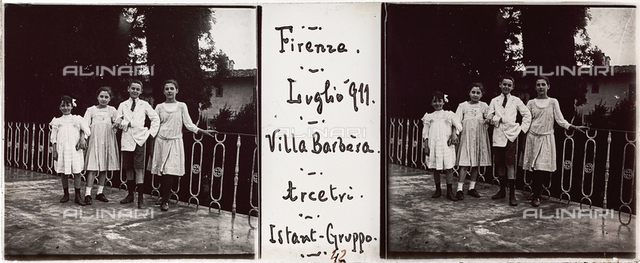 Portraits of children group on the terrace of Villa Barbera, Florence; stereoscopic image