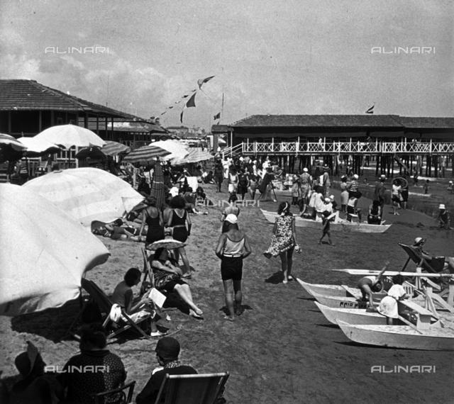 View of crowded lido beaches in Viareggio