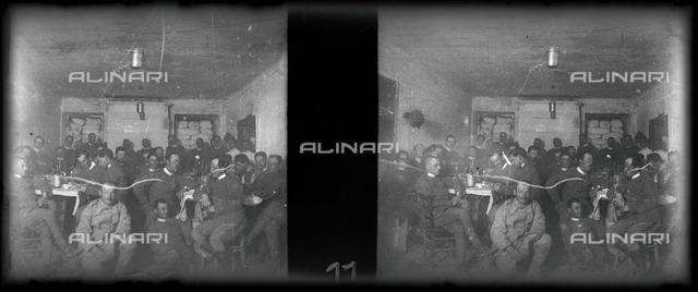 Table of officers of a battalion in Africa. Stereoscopic photography