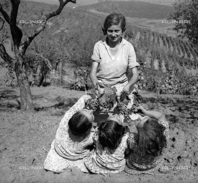 Grape harvesting: a group of girls posing with bunches of grapes