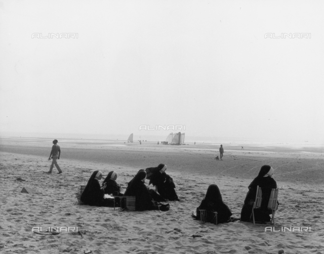 Group of nuns on the beach in Le Touquet