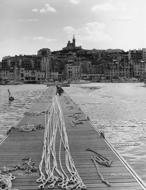 View of the port of Marseille from the pier